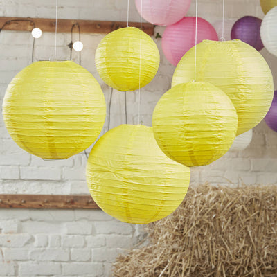 Yellow Paper Wedding Lanterns (Pack of 5)