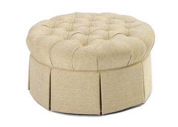 Round Tufted Skirted Ottoman