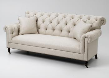 Tufted Roll Back Sofa w/ Casters