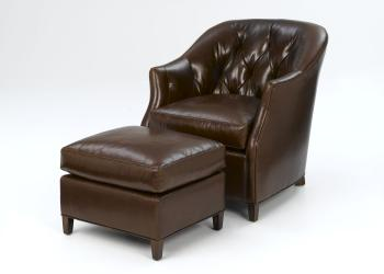Leather Tufted Tub Chair