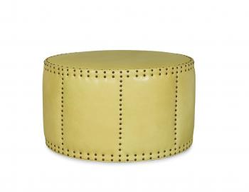 Leather Drum Ottoman