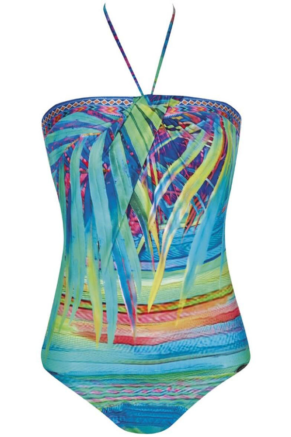 22058 Sunflair Turquoise Print Tropical Dream Swimsuit