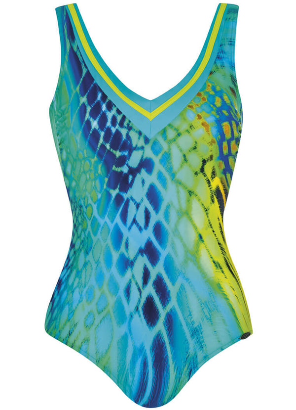 22234 Sunflair Lime Print Turquoise Lightness Swimsuit