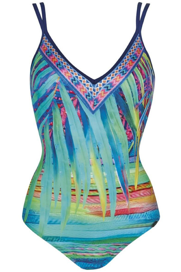 22312 Sunflair Turquoise Print Tropical Dream Swimsuit