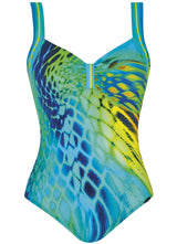 22322 Sunflair Turquoise and Lime Print Turquoise Lightness Swimsuit