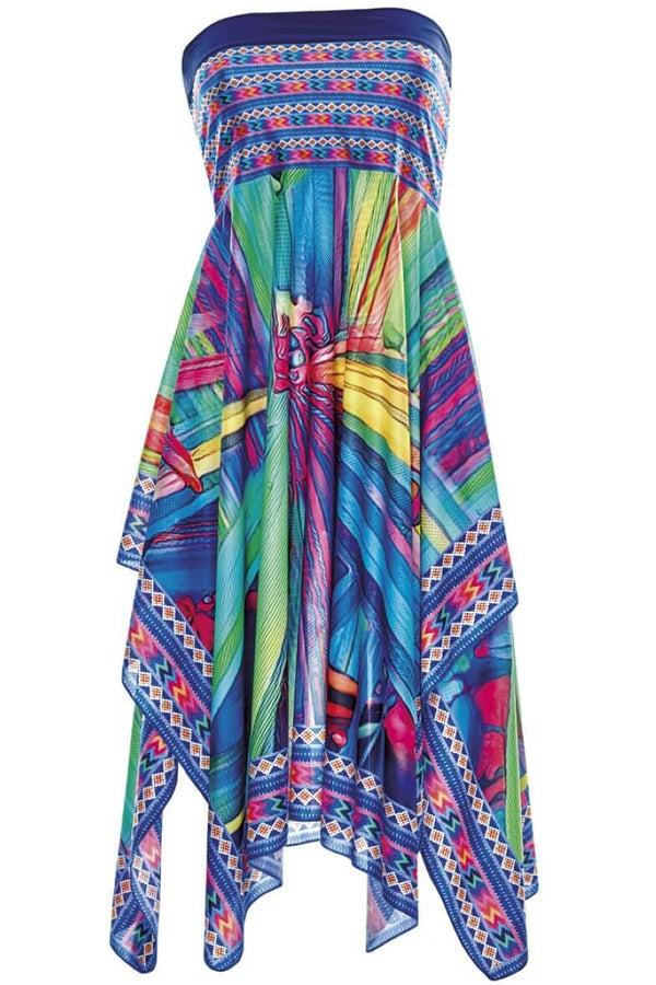 23210 Sunflair Turquoise Print Tropical Dream Multistyle Skirt