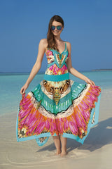 23219 Sunflair Turquoise Print Oriental Dream Multistyle Skirt