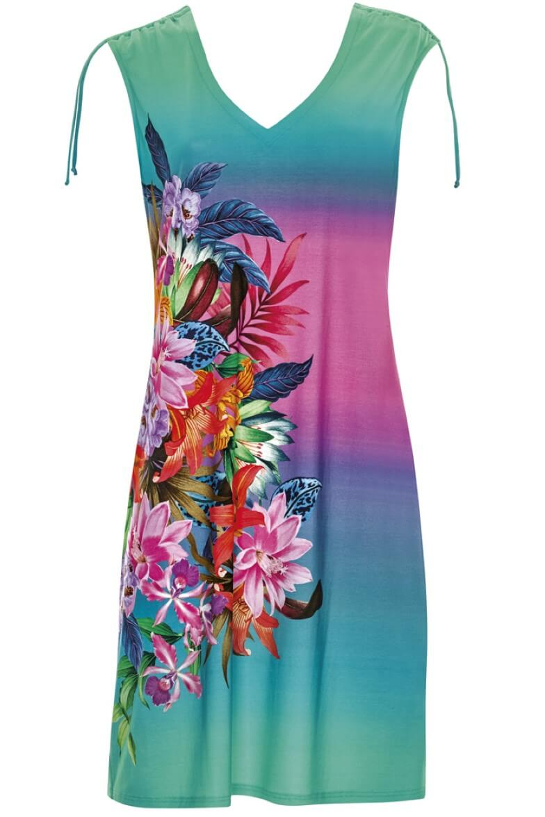 23320 Sunflair Turquoise Print Tropical Dream Dress