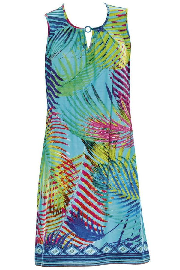 23336 Sunflair Turquoise Print Tropical Dream Dress