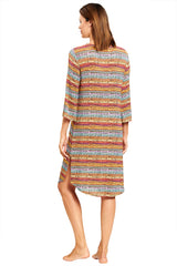 3205082 Feraud Brown Print Ethno Bead 3/4 Length Sleeve Dress