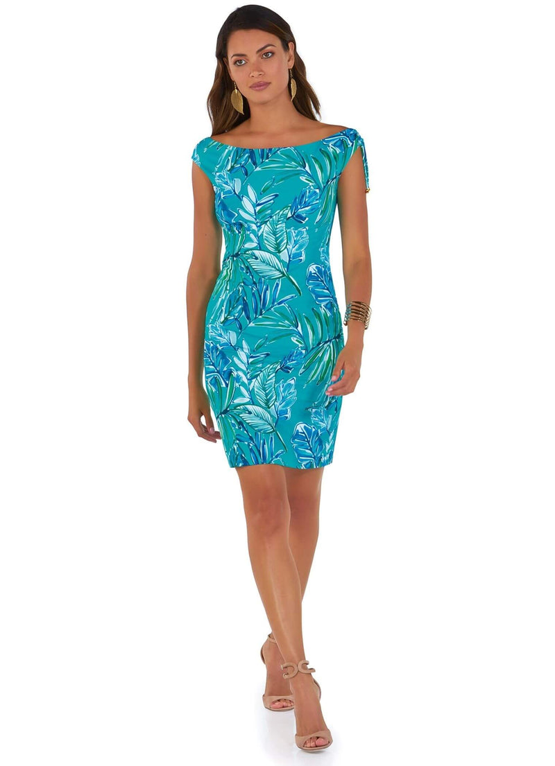 678/04 Roidal Turquoise Print Laura Knee Length Dress
