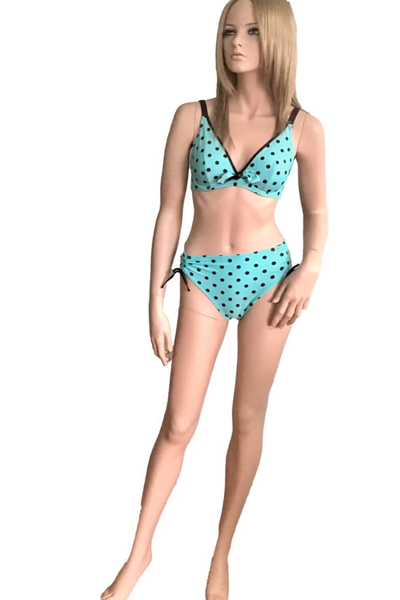 FBA3222 Acqua Antigel Turquoise with Brown Spots La Pois Toujours Tiangle Bikini Top