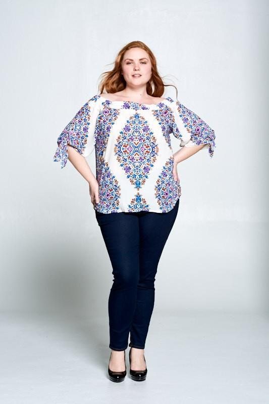 Curvy PAISLEY OFF THE SHOULDER TOP