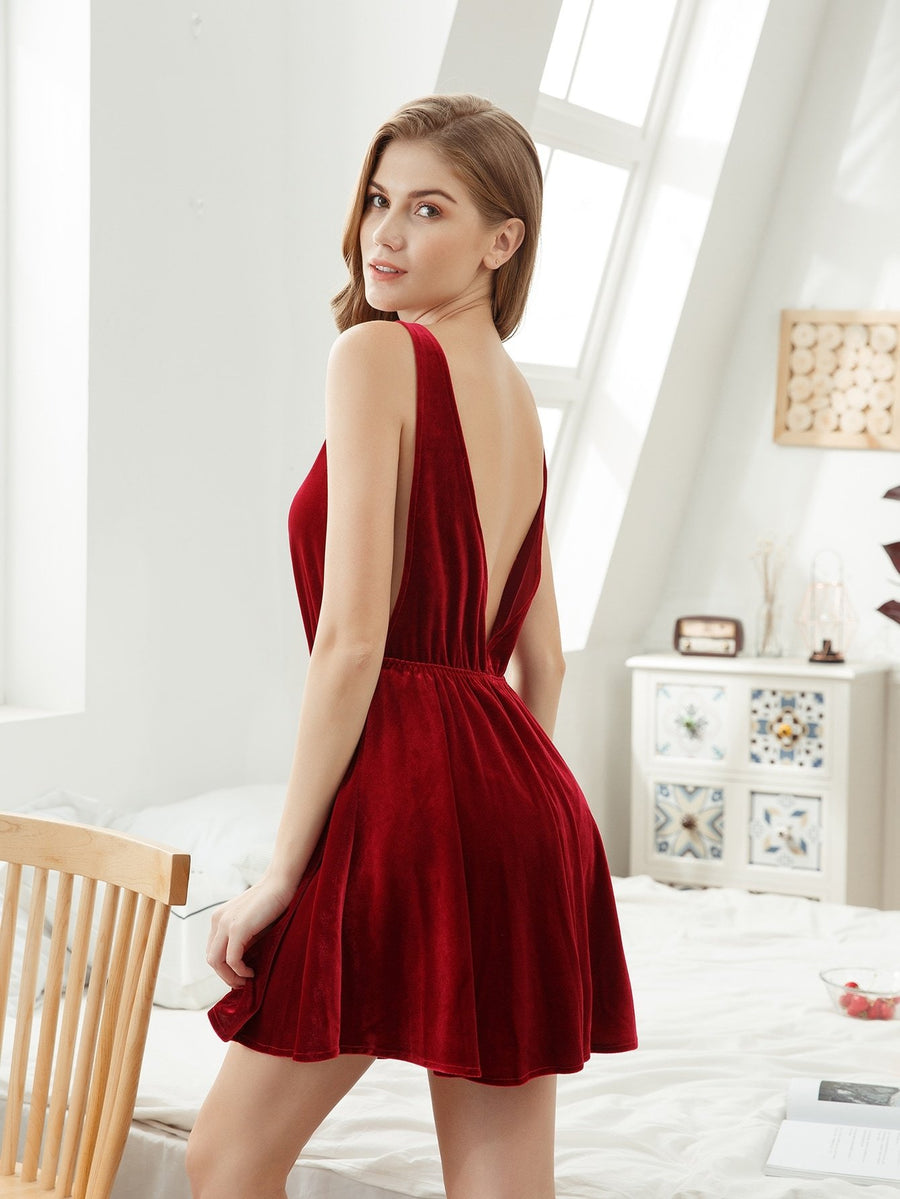 Deep V Back Velvet Night Dress