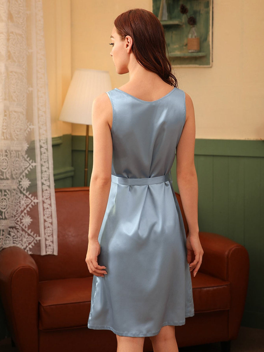 Button Front Belted Satin Night Dress