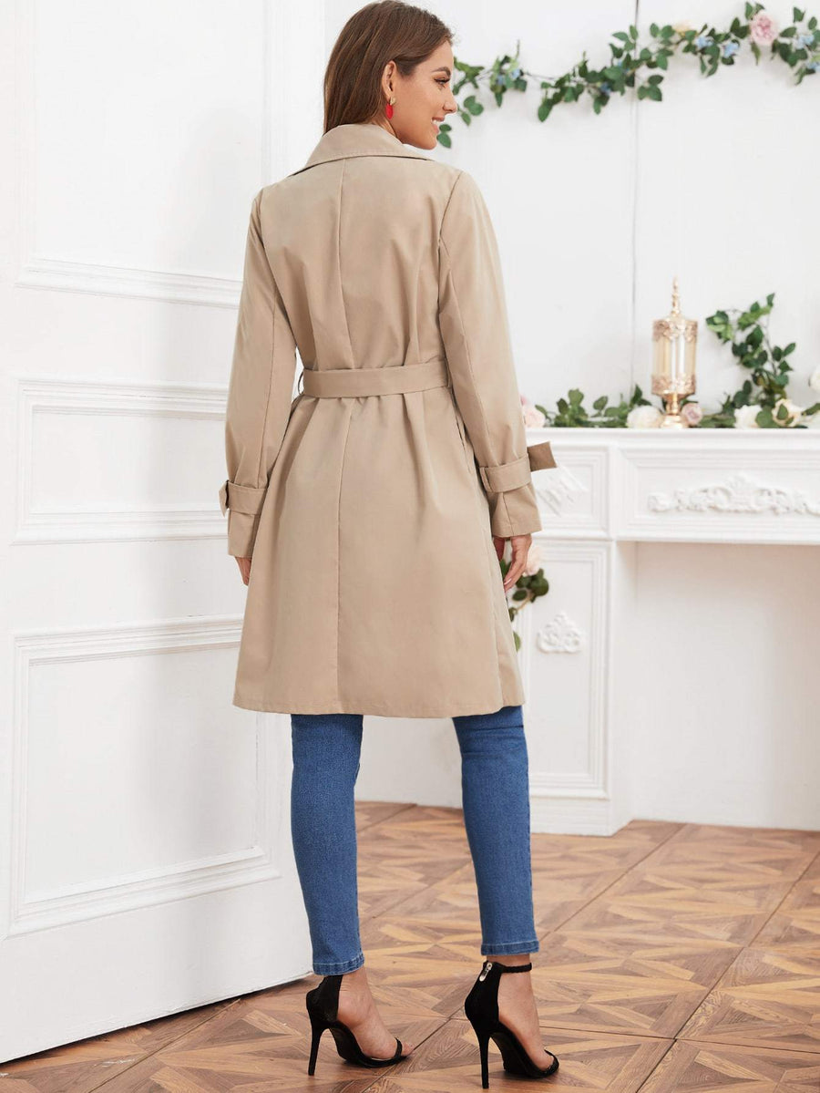 Lapel Collar Double Button Belted Trench Coat
