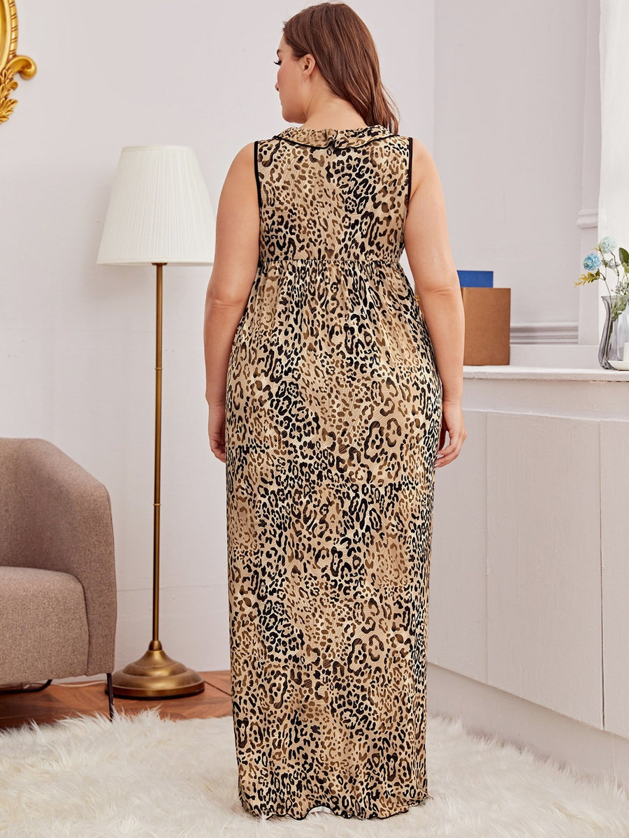 Curvy Leopard Longline Dress With Thong