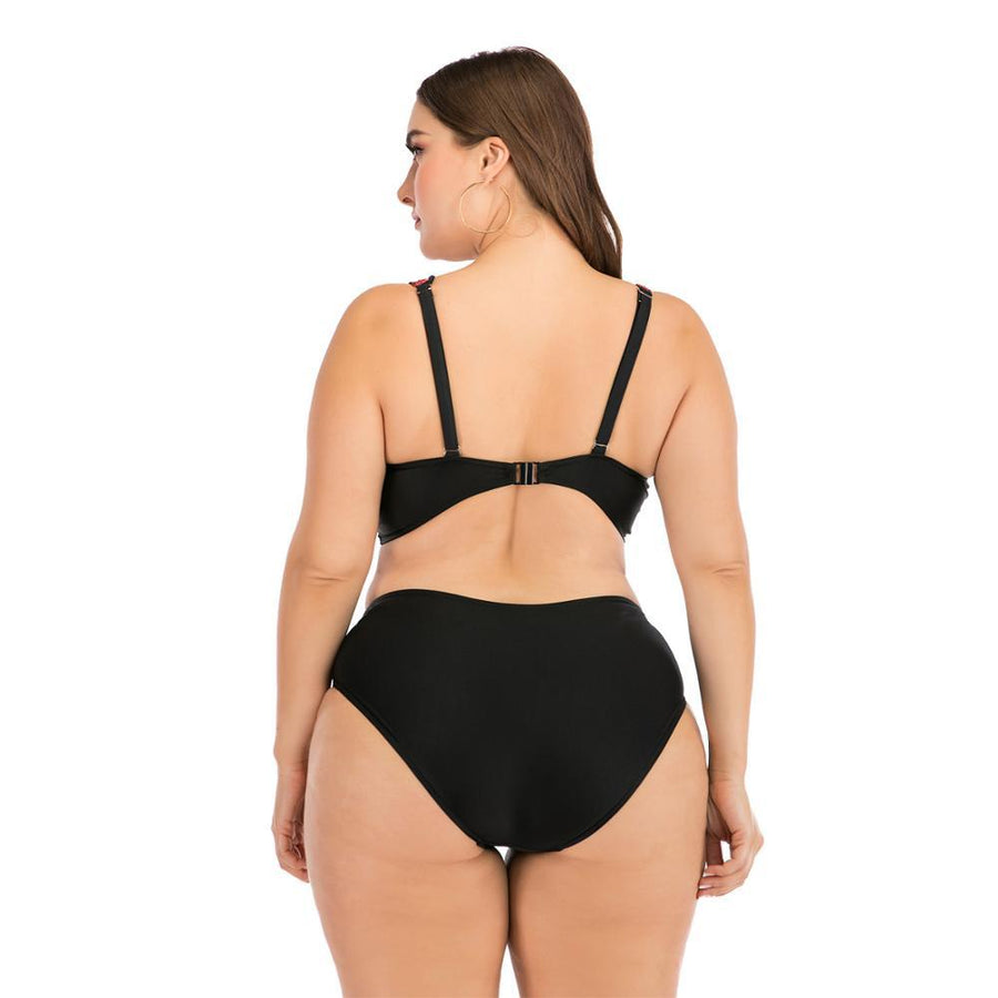 Curvy Pink and Black High Waist Bikini
