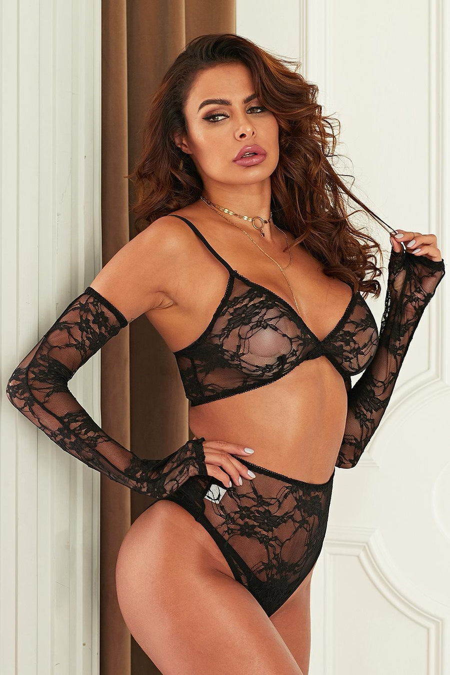 Feels Good Being Bad Two Piece Black Lace Bralette Lingerie Set