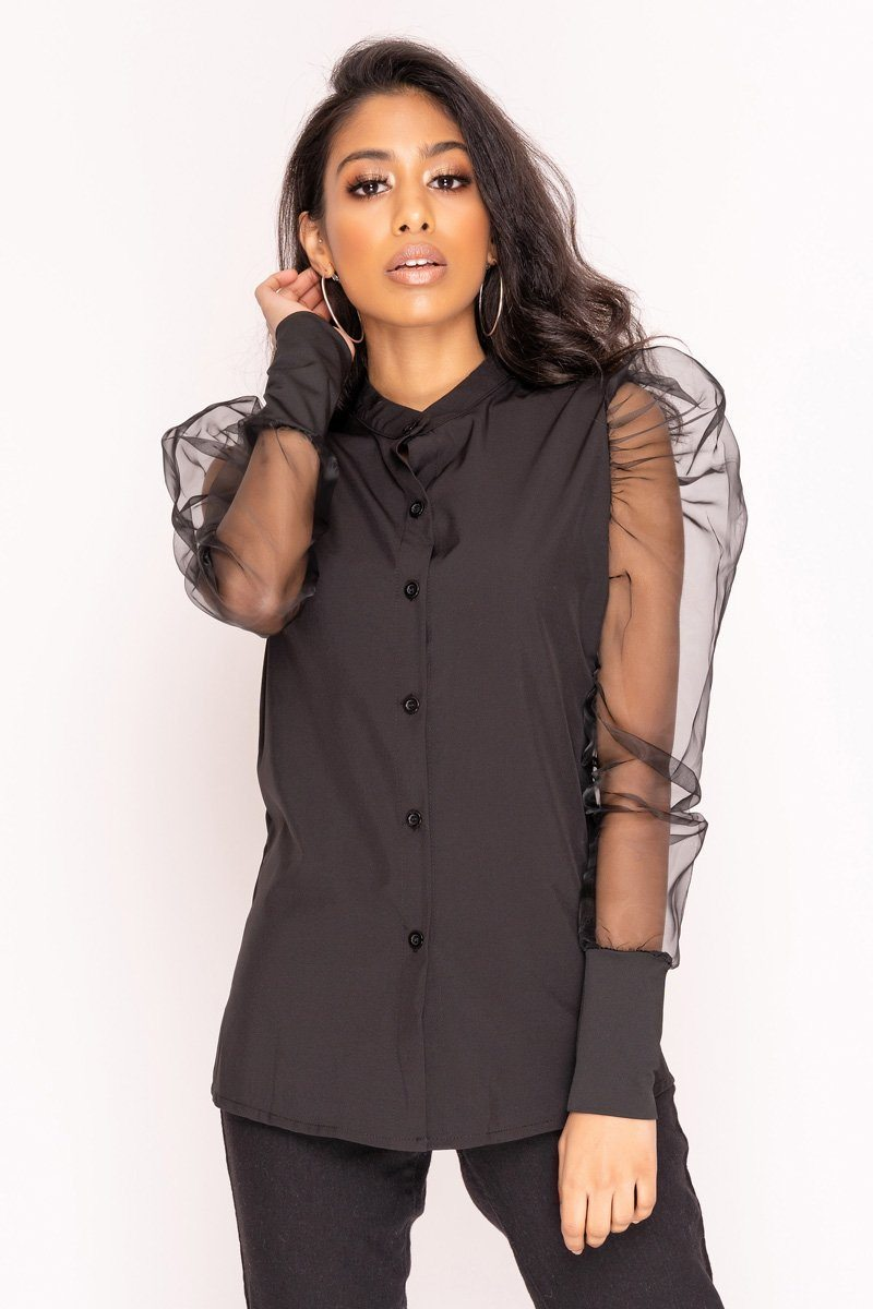 Black Mesh Sleeve Button Up Shirt