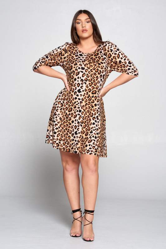 Curvy LEOPARD SWING DRESS WITH PUFF SLEEVES