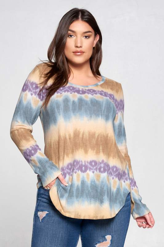 EXTRA SOFT ROUND NECK TIE DYE TOP - PLUS SIZE