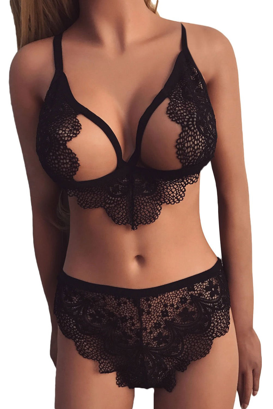 Sexy Black Hollow Out Lace Bra Panty Lingerie Set