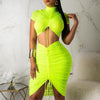 Solid 2 Piece Set Neon Party Crop Top