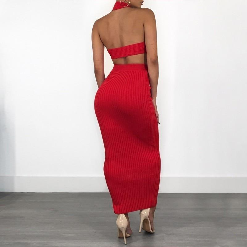 Knitted 2 Piece Set Sexy Crop Top Dress