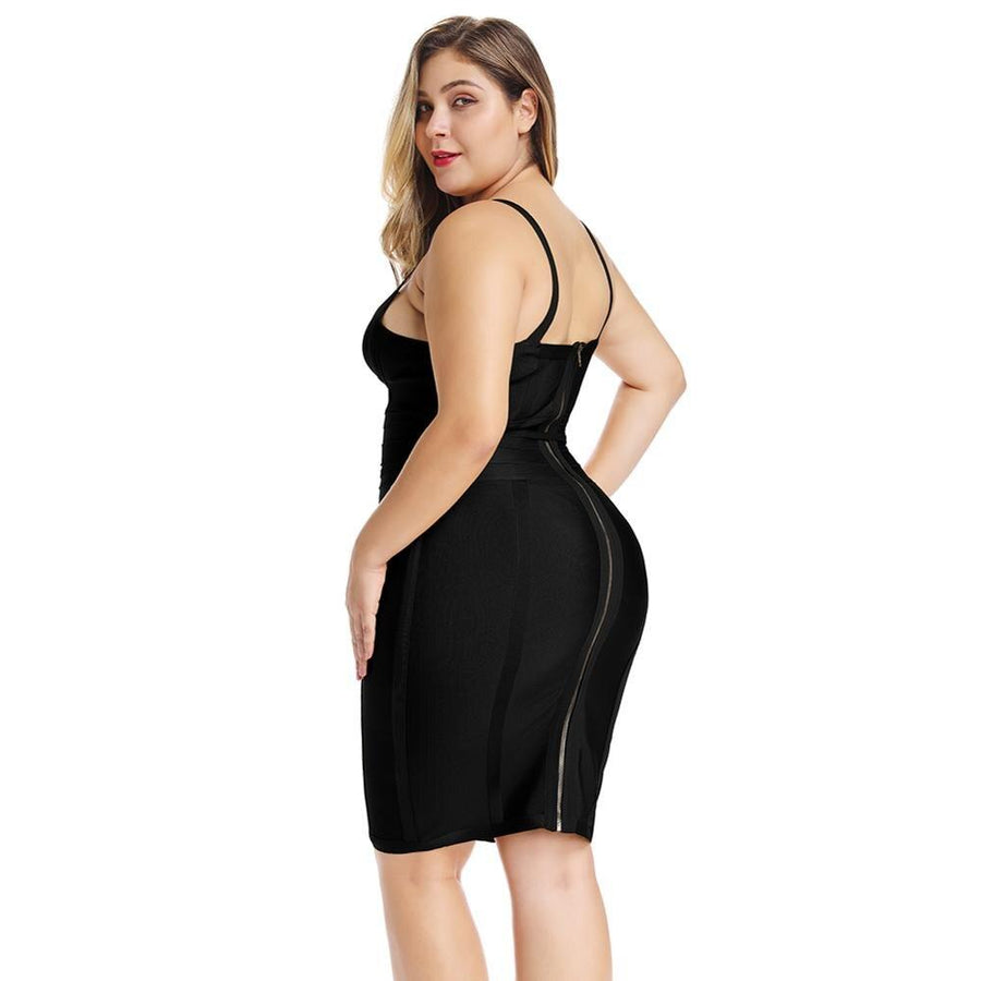 Curvy Black Bandage Strap Dress