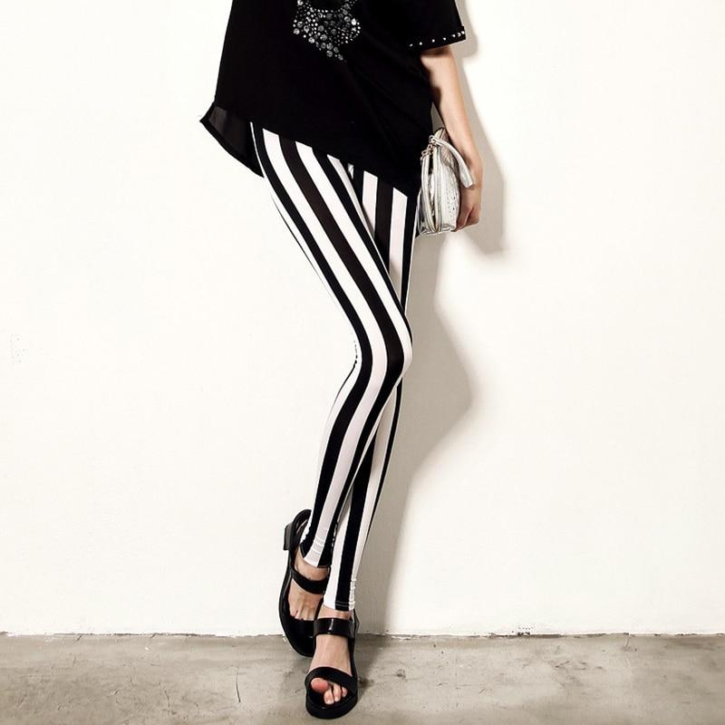 Women's Black and White Stripe Leggings