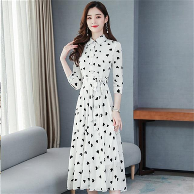 Seven-point chiffon floral swing dress