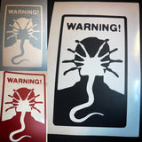 Warning Facehuggers car window decal
