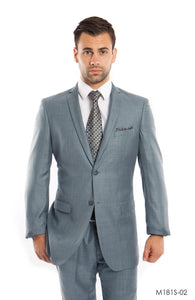 2 Button Slim Fit, Front Closure,Side Vents Grey Suit