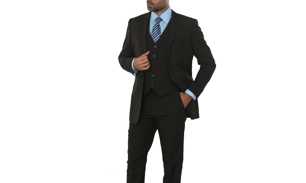 2Button,Slim cut, 3pc Vested suit Black