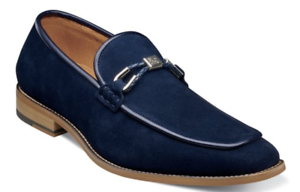 Colbin Moc Toe Ornament Strap Slip On Shoe Navy Suede