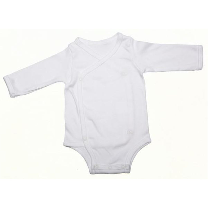 Crossover Button-Up Onesie With Long Sleeves (100% Cotton) (4897599029384)