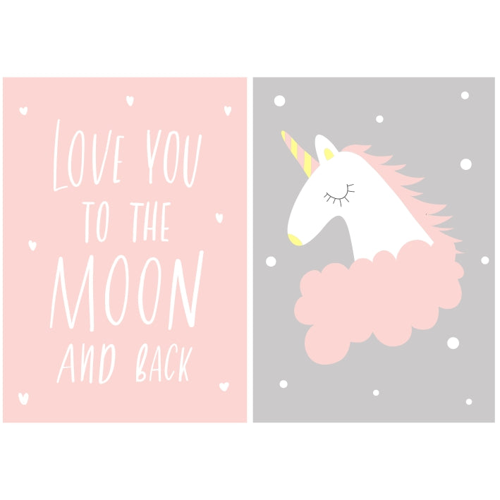 Love You To The Moon (Girl) (Slimline Canvas Prints) (4803843031176)