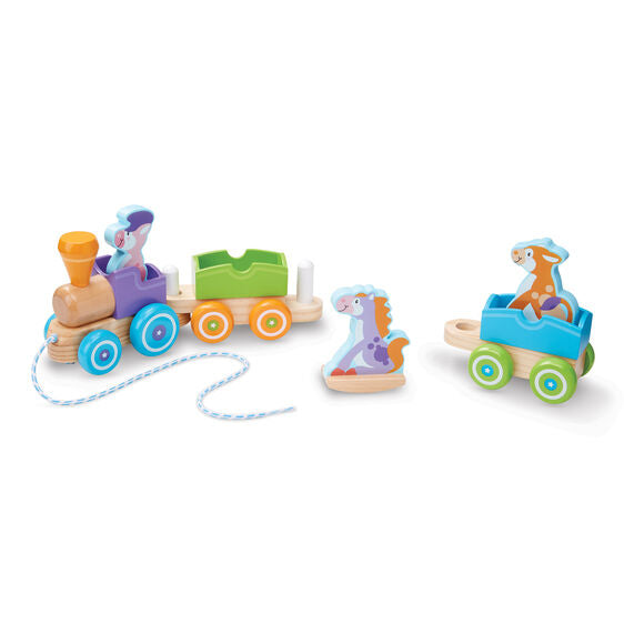 Wooden Rocking Farm Animals Pull Train