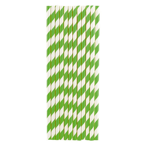 Paper Straws<br>Green - Set of 12
