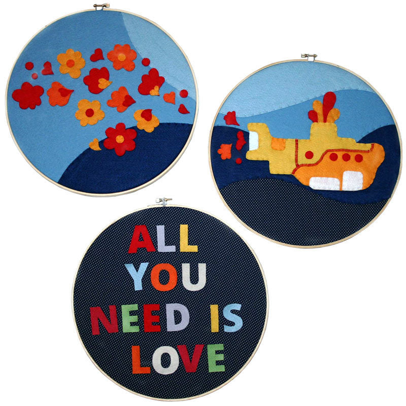 "Wall Artwork 10""<br>Yellow Submarine - Set of 3 hoops"