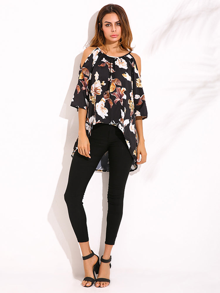 Sexy Women Flower Printed Strap Off Shoulder Half Sleeve High Low Blouse