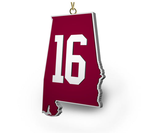 "Alabama ""16"" State Ornament - Crimson"