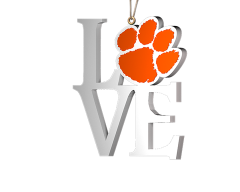 "Clemson ""Love"" Ornament"