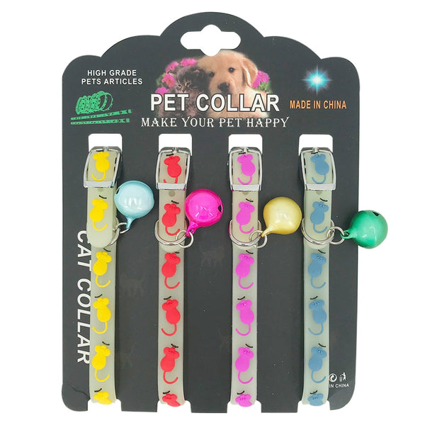 Pet Collar with Glowing Bells Glow at Night