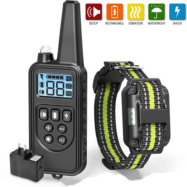 Electric Dog Training Collar Waterproof Rechargeable Remote Control Pet with LCD Display