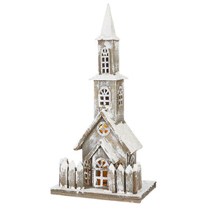 Grey/White Washed Lighted Church