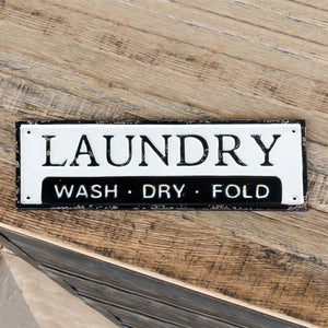 Metal Laundry Wash Dry Fold Sign