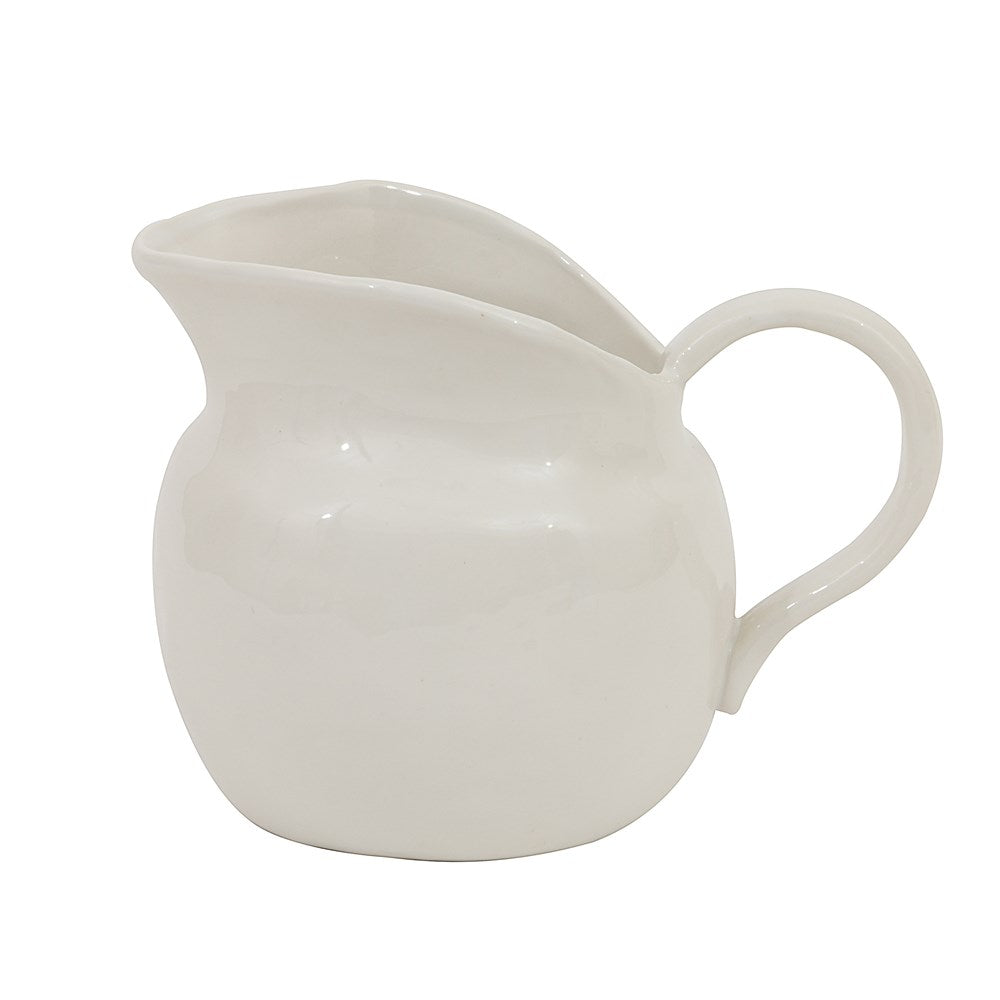Stoneware Vintage Reproduction Pitcher, White