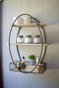 Tall Oval Metal Framed All Unit With Recycled Wood Shelves